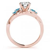 Twisted Round Blue Topaz Vine Leaf Engagement Ring 14k Rose Gold (0.50ct)