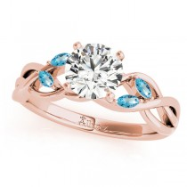 Twisted Round Blue Topaz Vine Leaf Engagement Ring 14k Rose Gold (1.50ct)