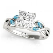 Princess Blue Topaz Vine Leaf Engagement Ring 14k White Gold (1.50ct)
