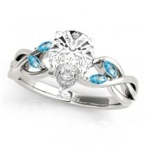 Pear Blue Topaz Vine Leaf Engagement Ring 14k White Gold (1.50ct)