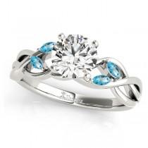 Round Blue Topaz Vine Leaf Engagement Ring 14k White Gold (1.00ct)