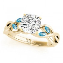 Twisted Cushion Blue Topaz Vine Leaf Engagement Ring 14k Yellow Gold (1.50ct)