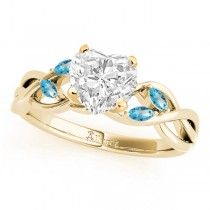 Twisted Heart Blue Topaz Vine Leaf Engagement Ring 14k Yellow Gold (1.50ct)
