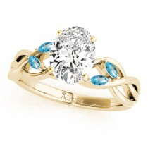 Twisted Oval Blue Topaz Vine Leaf Engagement Ring 14k Yellow Gold (1.50ct)