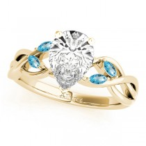 Twisted Pear Blue Topaz Vine Leaf Engagement Ring 14k Yellow Gold (1.50ct)