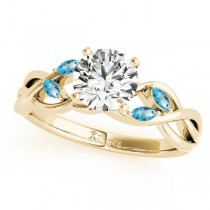 Twisted Round Blue Topaz Vine Leaf Engagement Ring 14k Yellow Gold (1.00ct)