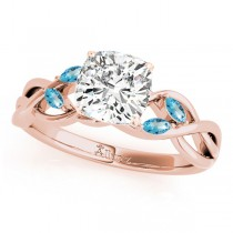 Cushion Blue Topaz Vine Leaf Engagement Ring 18k Rose Gold (1.50ct)