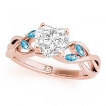 Heart Blue Topaz Vine Leaf Engagement Ring 18k Rose Gold (1.50ct)