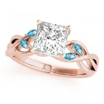 Princess Blue Topaz Vine Leaf Engagement Ring 18k Rose Gold (1.50ct)