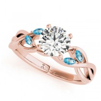 Round Blue Topaz Vine Leaf Engagement Ring 18k Rose Gold (1.50ct)