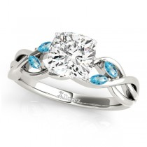Twisted Cushion Blue Topaz Vine Leaf Engagement Ring 18k White Gold (1.50ct)