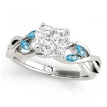 Twisted Heart Blue Topaz Vine Leaf Engagement Ring 18k White Gold (1.50ct)