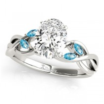 Twisted Oval Blue Topaz Vine Leaf Engagement Ring 18k White Gold (1.50ct)