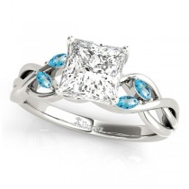 Twisted Princess Blue Topaz Vine Leaf Engagement Ring 18k White Gold (0.50ct)