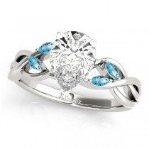 Twisted Pear Blue Topaz Vine Leaf Engagement Ring 18k White Gold (1.50ct)