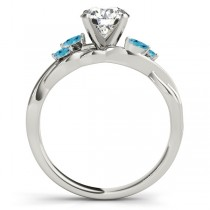 Twisted Round Blue Topazes & Moissanite Engagement Ring 18k White Gold (1.00ct)