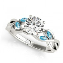 Twisted Round Blue Topaz Vine Leaf Engagement Ring 18k White Gold (0.50ct)