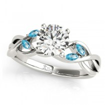 Twisted Round Blue Topaz Vine Leaf Engagement Ring 18k White Gold (1.00ct)