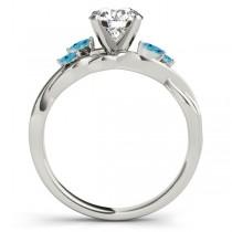 Twisted Round Blue Topaz Vine Leaf Engagement Ring 18k White Gold (1.00ct)