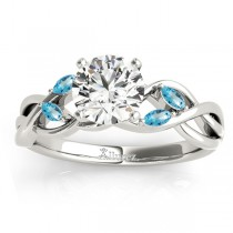 Blue Topaz Marquise Vine Leaf Engagement Ring 18k White Gold (0.20ct)