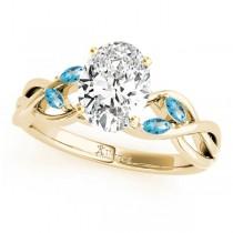 Oval Blue Topaz Vine Leaf Engagement Ring 18k Yellow Gold (1.50ct)