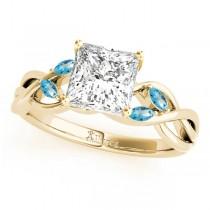 Princess Blue Topaz Vine Leaf Engagement Ring 18k Yellow Gold (0.50ct)
