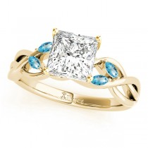Princess Blue Topaz Vine Leaf Engagement Ring 18k Yellow Gold (0.50ct)