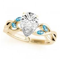 Pear Blue Topaz Vine Leaf Engagement Ring 18k Yellow Gold (1.50ct)