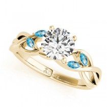 Round Blue Topaz Vine Leaf Engagement Ring 18k Yellow Gold (1.00ct)