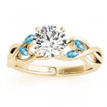 Blue Topaz Marquise Vine Leaf Engagement Ring 18k Yellow Gold (0.20ct)