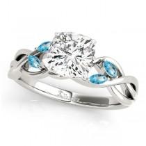 Twisted Cushion Blue Topaz Vine Leaf Engagement Ring Palladium (1.00ct)