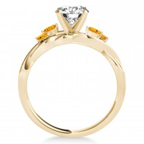 Citrine Marquise Vine Leaf Engagement Ring 18k Yellow Gold (0.20ct)