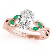 Twisted Oval Emeralds Vine Leaf Engagement Ring 14k Rose Gold (1.50ct)