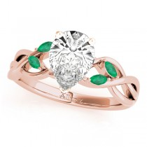 Twisted Pear Emeralds Vine Leaf Engagement Ring 14k Rose Gold (1.00ct)