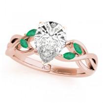 Twisted Pear Emeralds Vine Leaf Engagement Ring 14k Rose Gold (1.50ct)