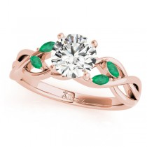 Twisted Round Emeralds Vine Leaf Engagement Ring 14k Rose Gold (1.00ct)
