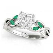 Heart Emeralds Vine Leaf Engagement Ring 14k White Gold (1.50ct)