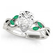 Pear Emeralds Vine Leaf Engagement Ring 14k White Gold (1.00ct)