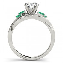 Twisted Round Emeralds & Moissanite Engagement Ring 14k White Gold (1.50ct)