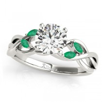 Round Emeralds Vine Leaf Engagement Ring 14k White Gold (0.50ct)