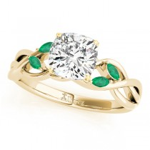 Twisted Cushion Emeralds Vine Leaf Engagement Ring 14k Yellow Gold (1.00ct)