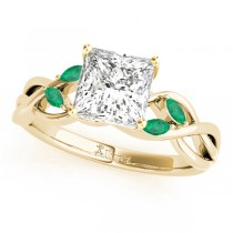 Twisted Princess Emeralds Vine Leaf Engagement Ring 14k Yellow Gold (0.50ct)