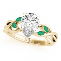 Twisted Pear Emeralds Vine Leaf Engagement Ring 14k Yellow Gold (1.50ct)