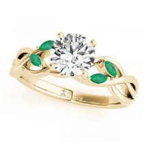 Twisted Round Emeralds Vine Leaf Engagement Ring 14k Yellow Gold (1.00ct)