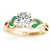 Emerald Marquise Vine Leaf Engagement Ring 14k Yellow Gold (0.20ct)