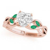 Twisted Heart Emeralds Vine Leaf Engagement Ring 18k Rose Gold (1.50ct)