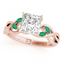 Twisted Princess Emeralds Vine Leaf Engagement Ring 18k Rose Gold (0.50ct)