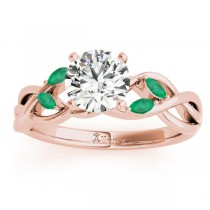 Emerald Marquise Vine Leaf Engagement Ring 18k Rose Gold (0.20ct)