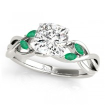 Twisted Cushion Emeralds Vine Leaf Engagement Ring 18k White Gold (1.00ct)