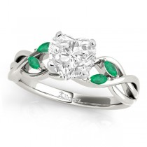 Twisted Heart Emeralds Vine Leaf Engagement Ring 18k White Gold (1.50ct)